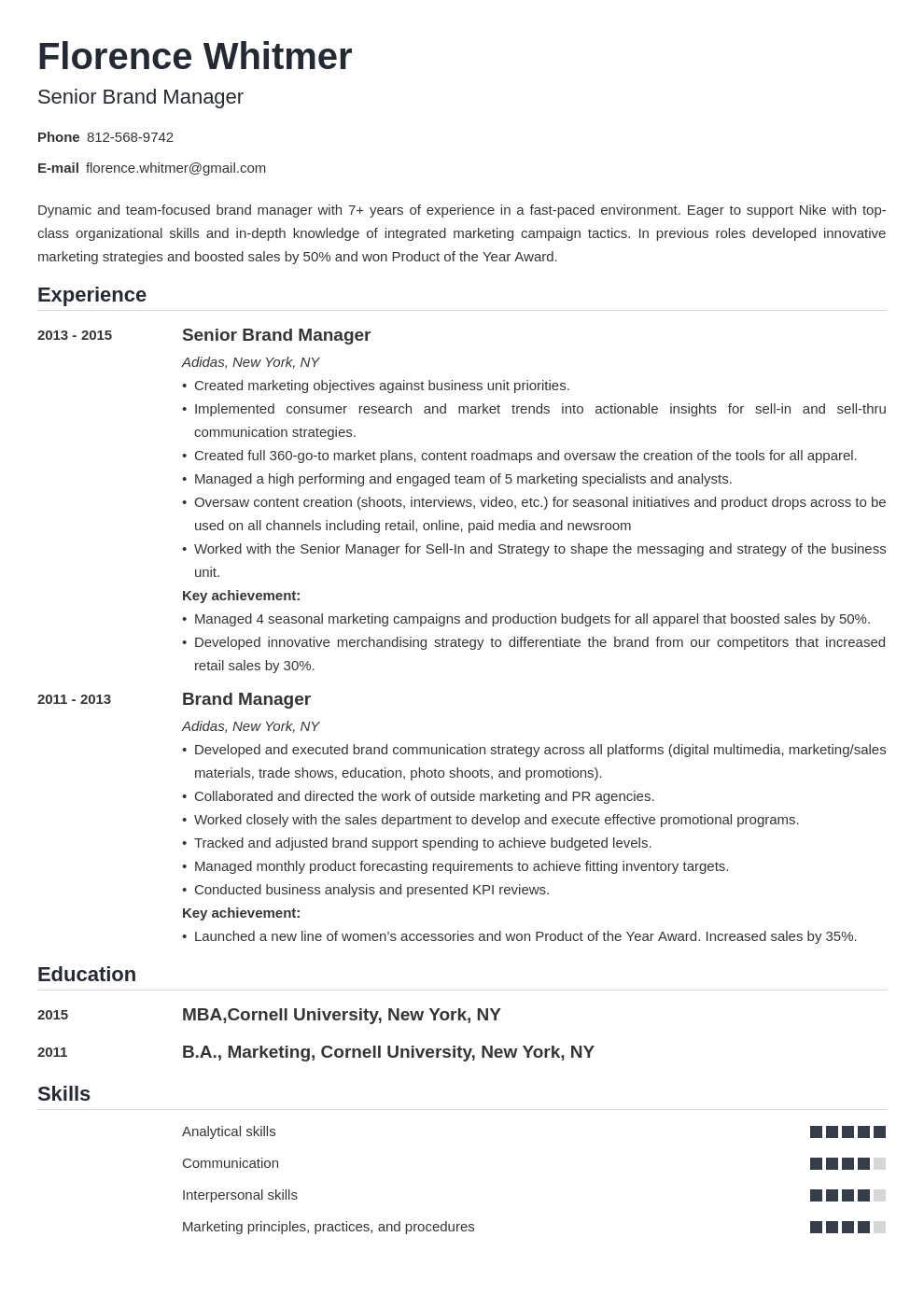 brand manager resume example template nanica