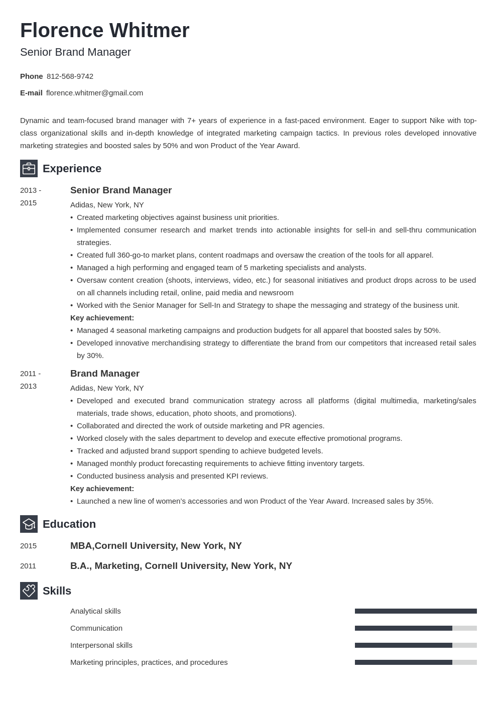 brand manager resume example template newcast