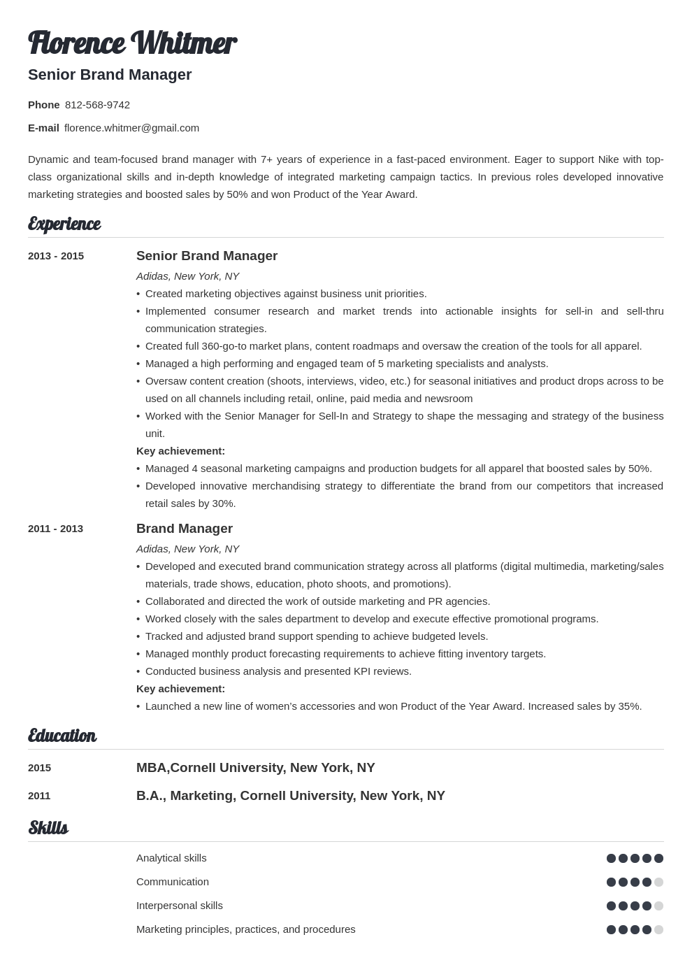 brand manager resume example template valera