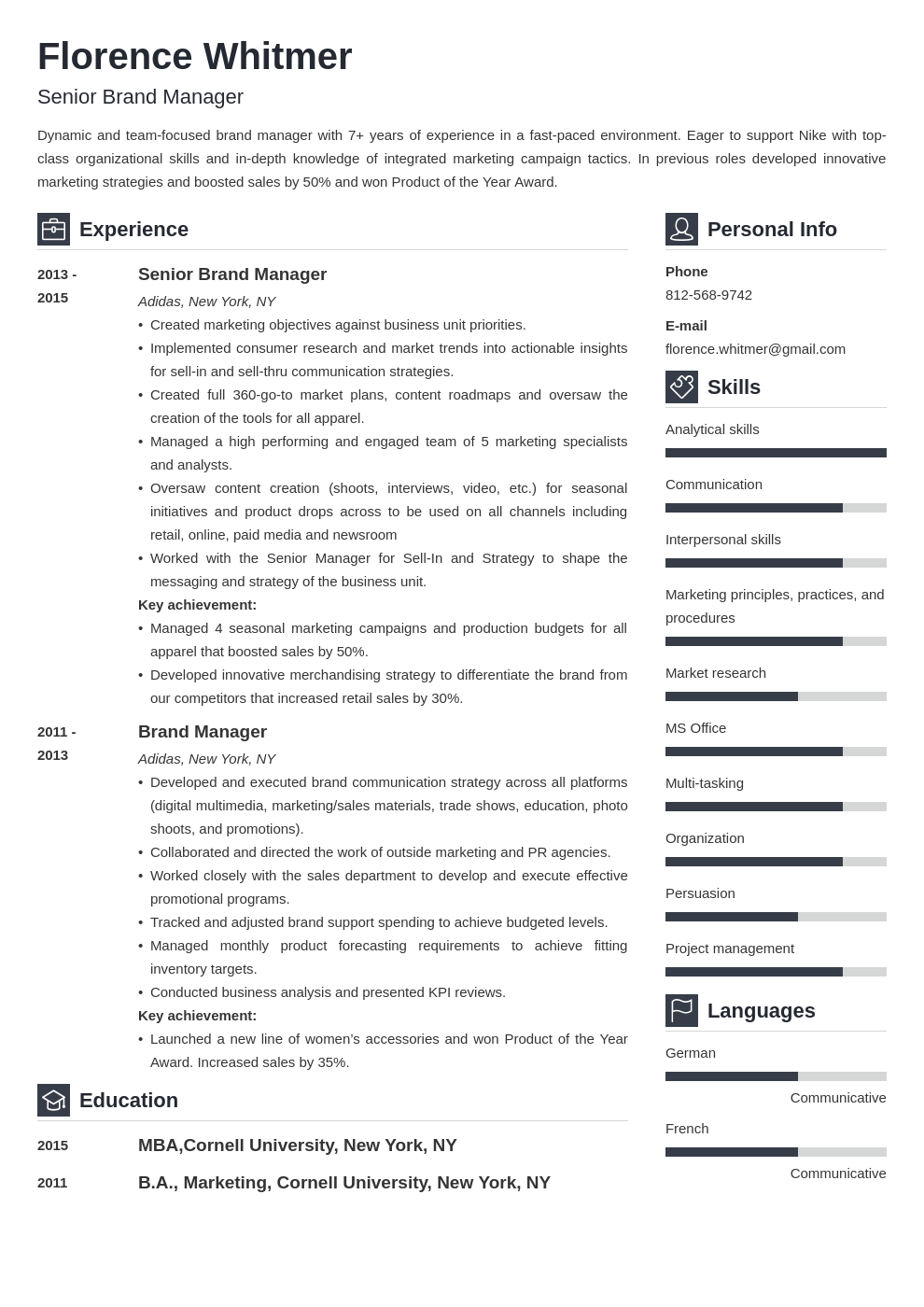 brand manager resume example template vibes