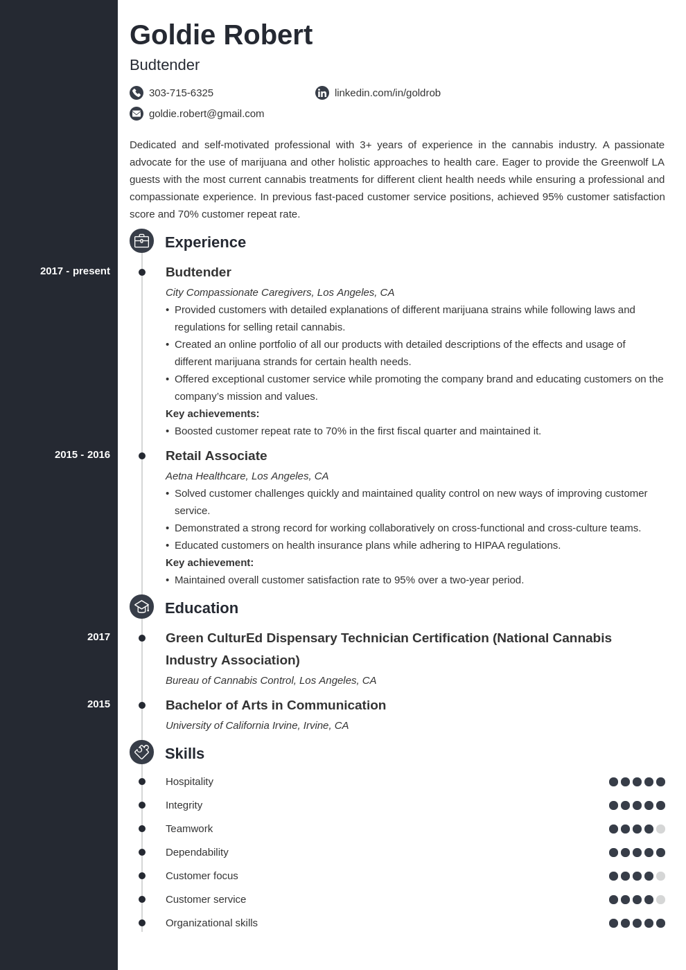 budtender resume example template concept