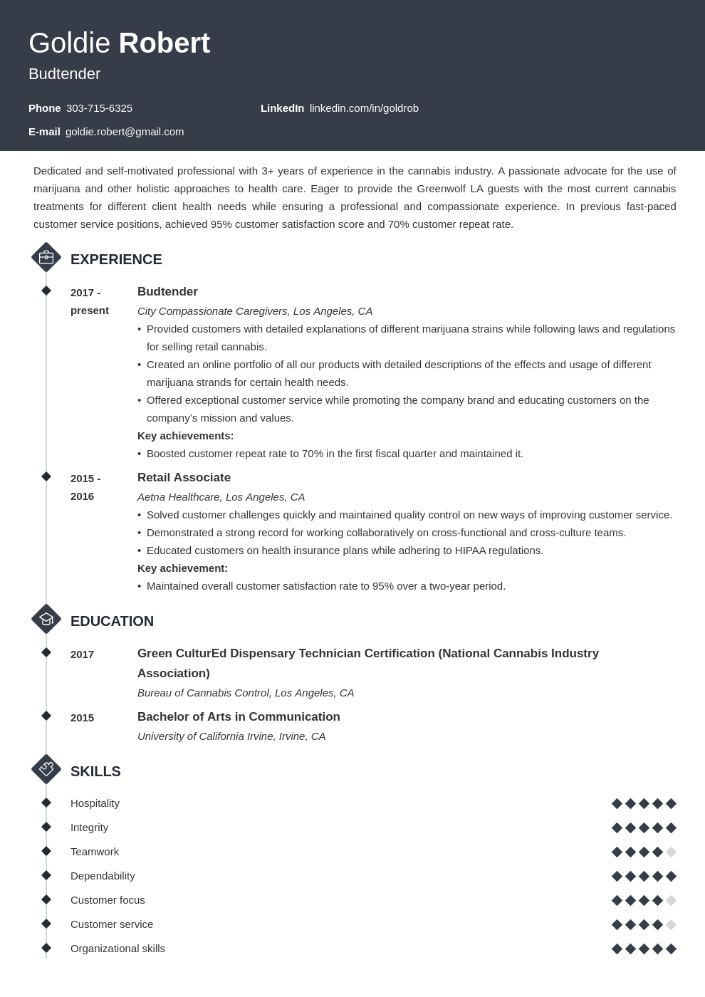 budtender resume example template diamond