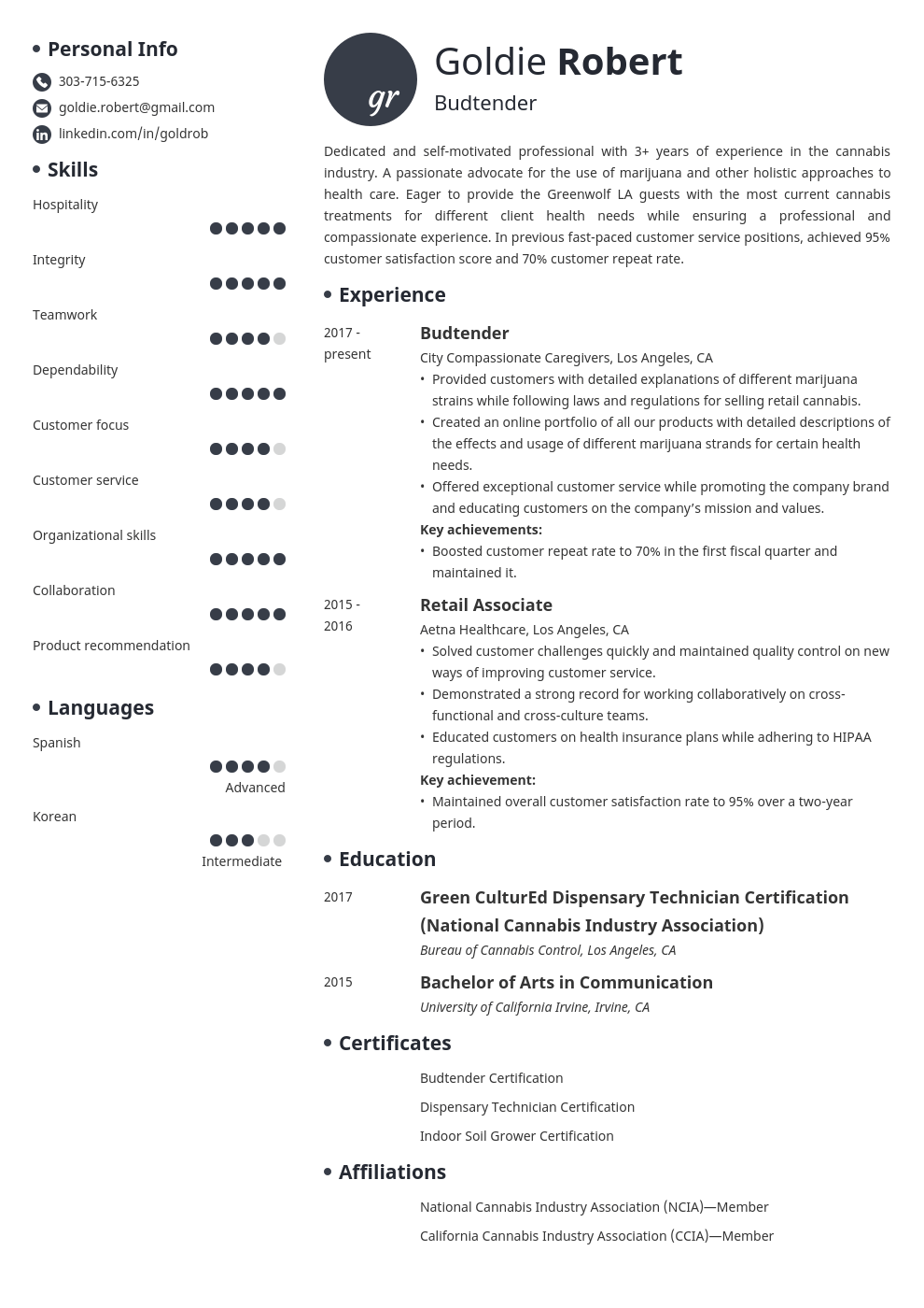 budtender resume example template initials
