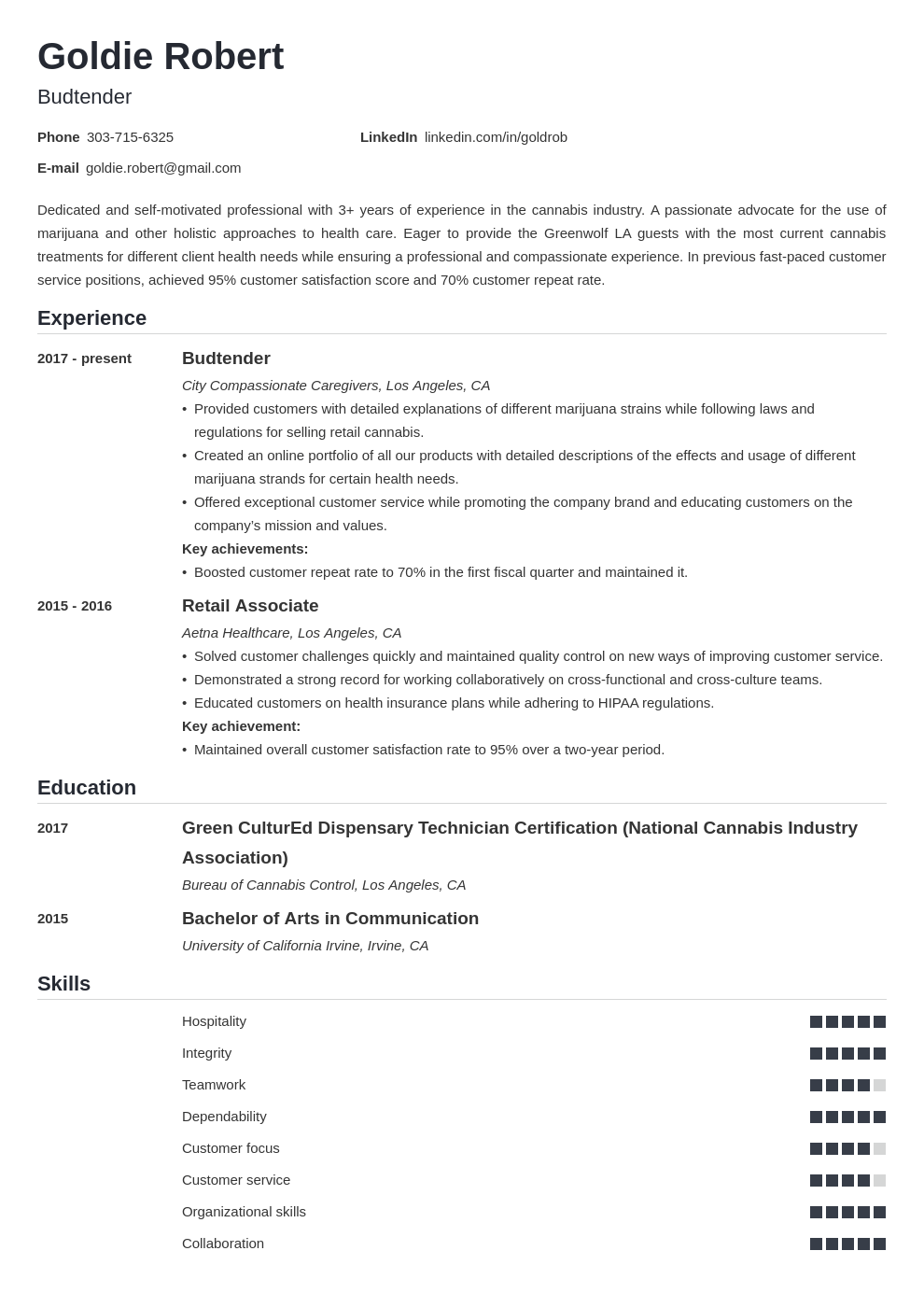 budtender resume example template nanica