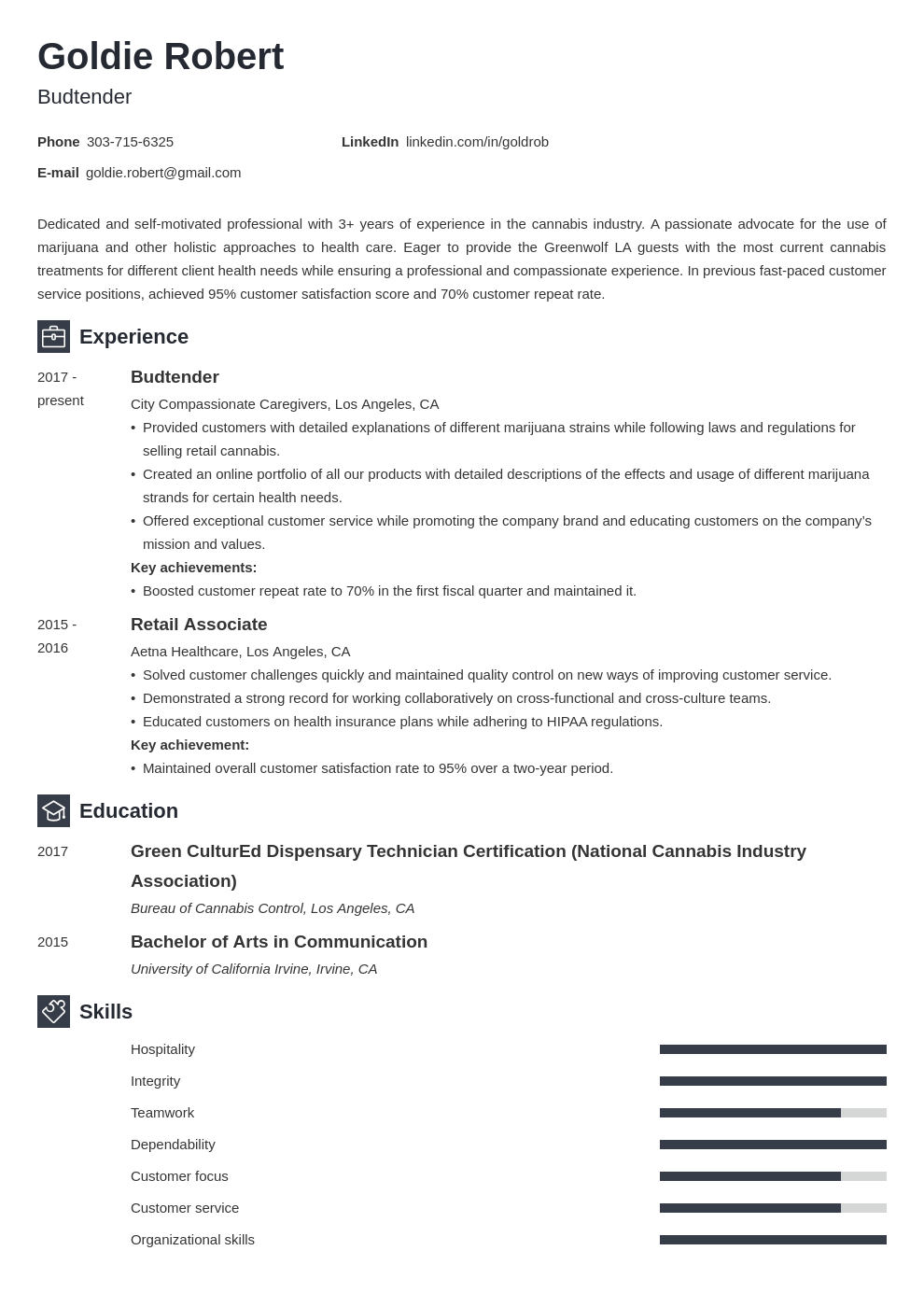 budtender resume example template newcast