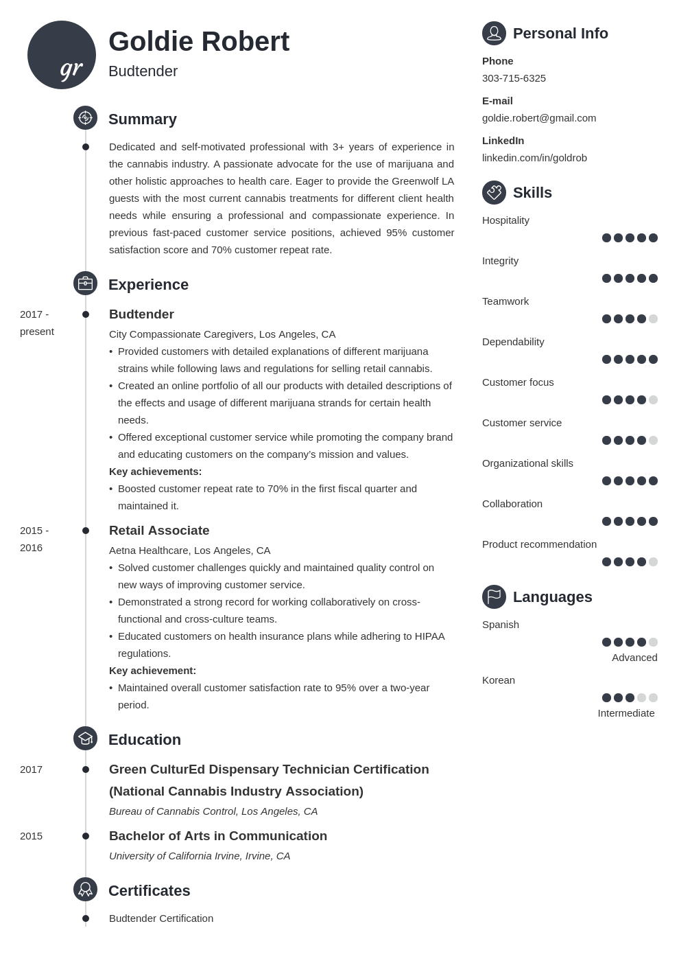 budtender resume example template primo