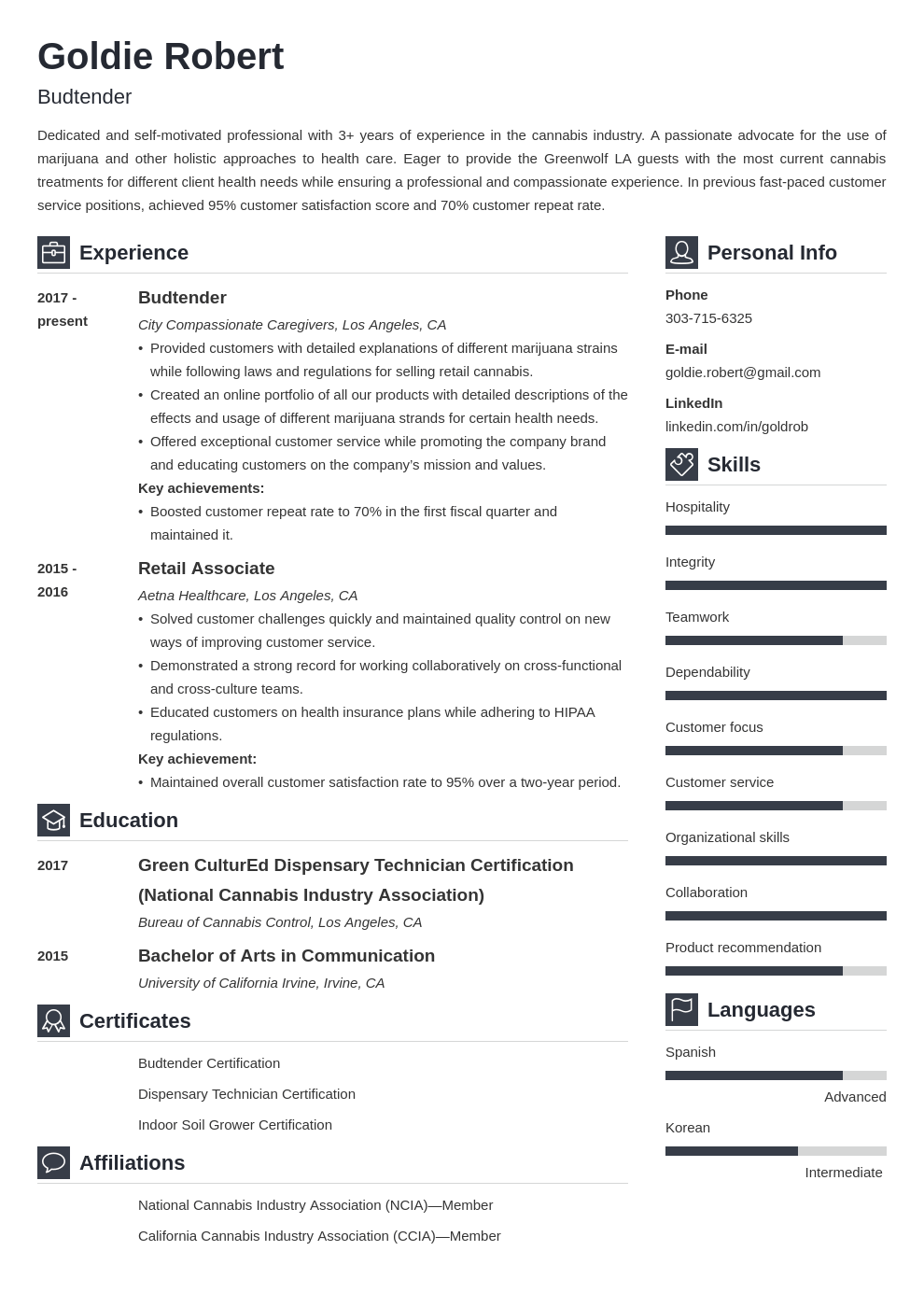 budtender resume example template vibes
