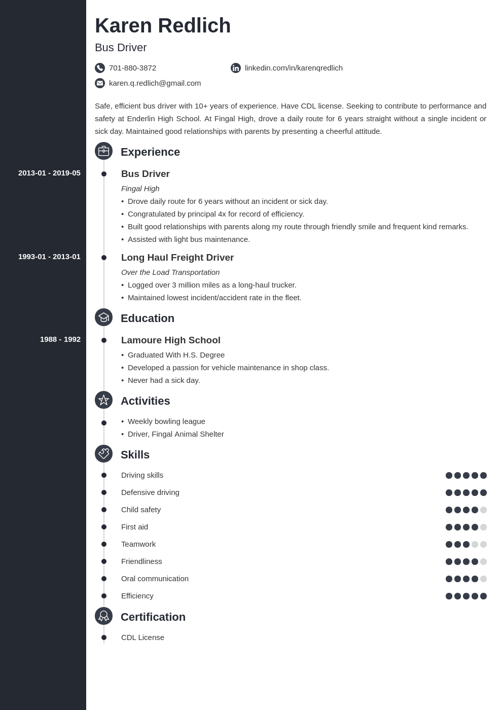 bus driver resume example template concept