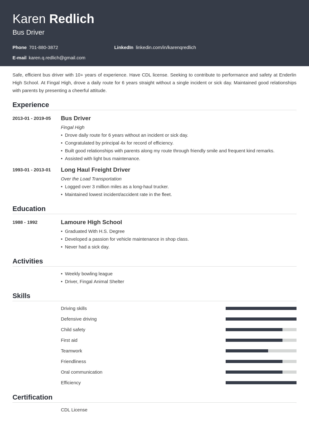 bus driver resume example template influx