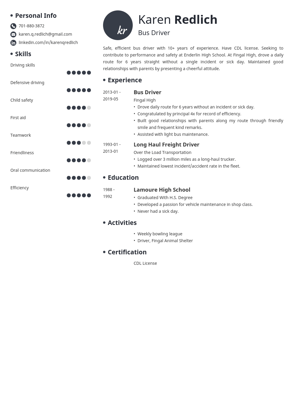 bus driver resume example template initials