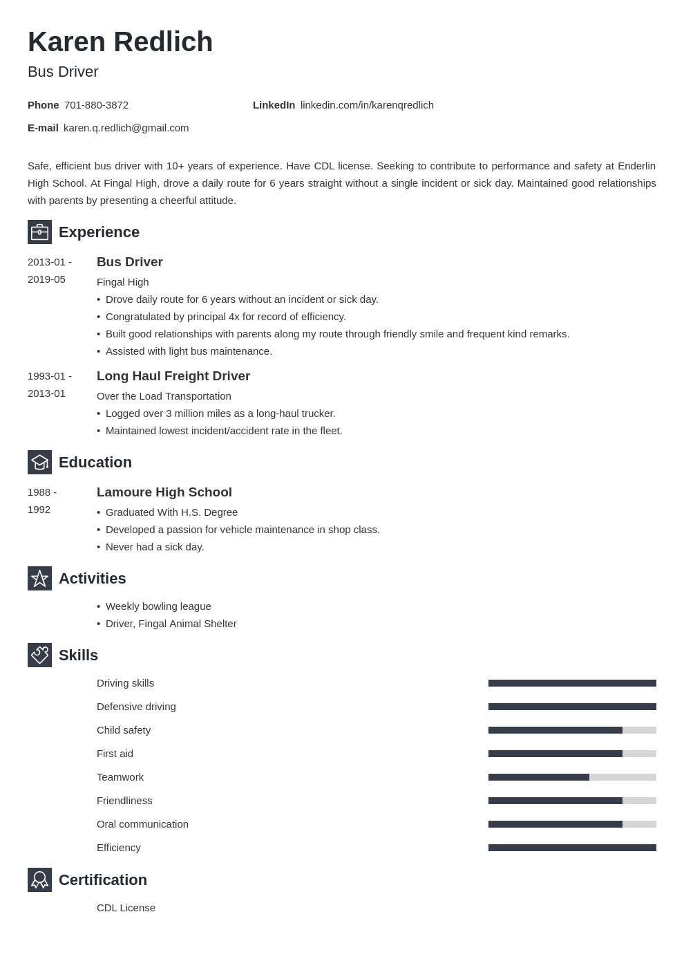bus driver resume example template newcast