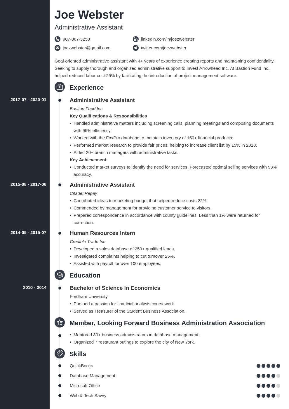 business administration resume example template concept