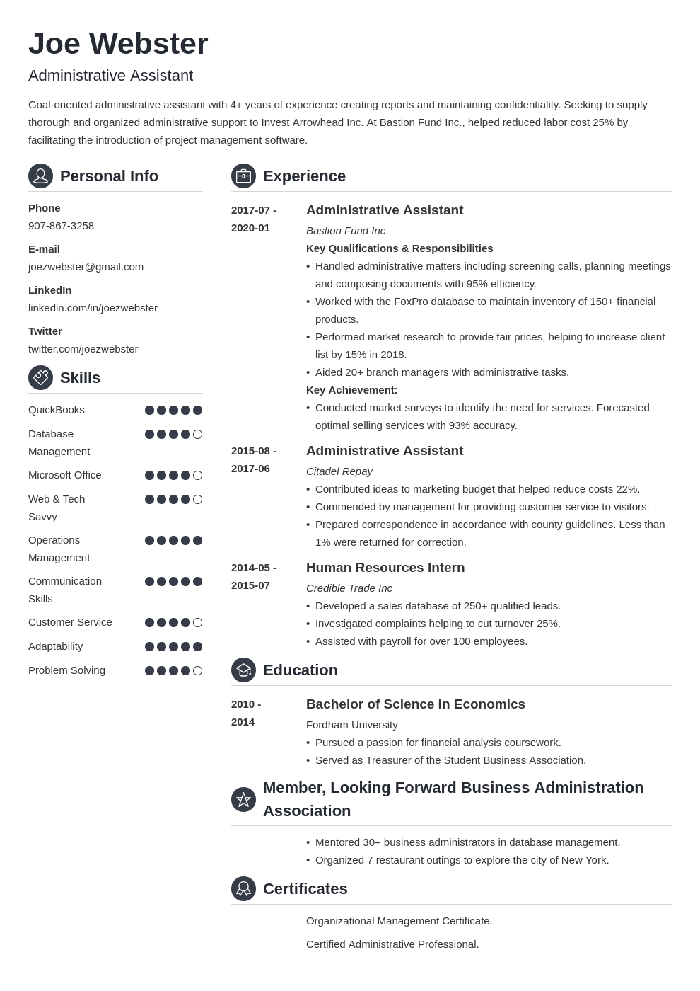 business administration resume example template crisp