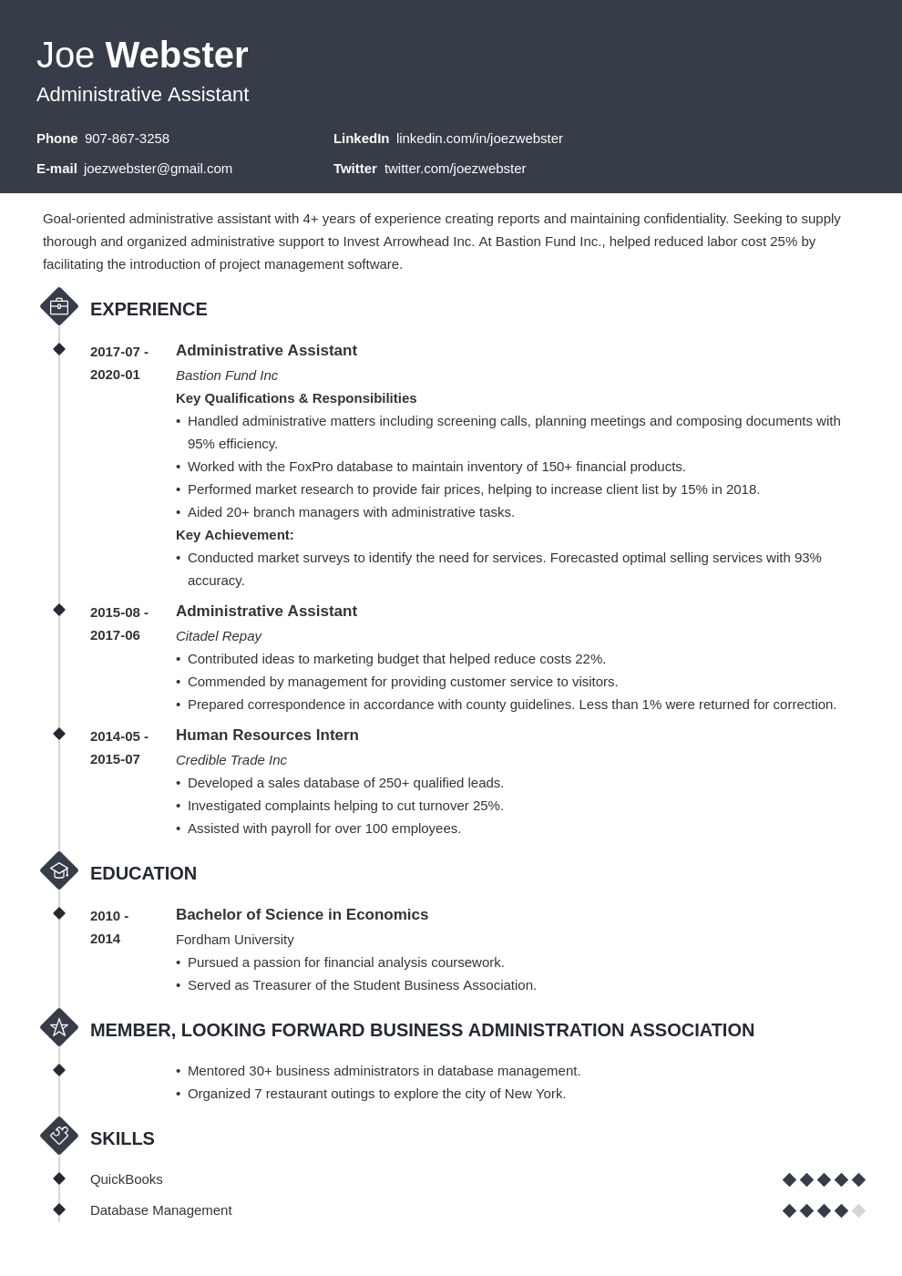 business administration resume example template diamond