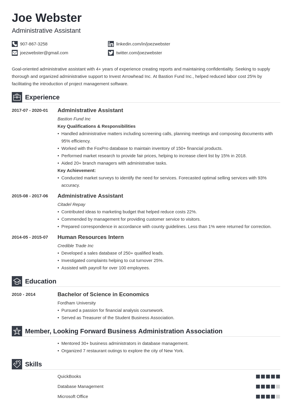 business administration resume example template iconic