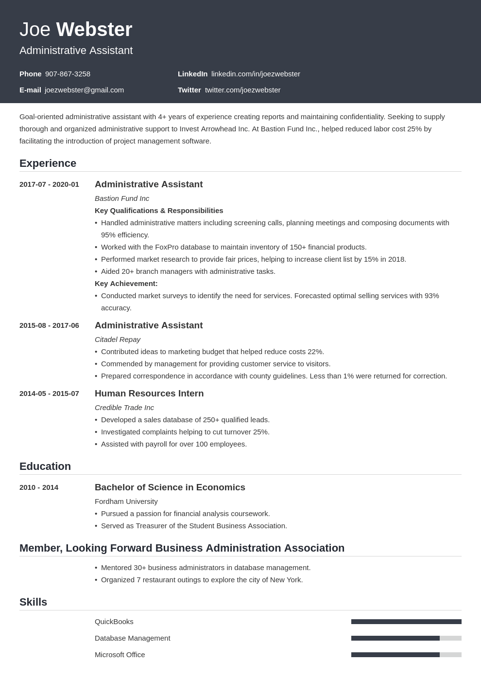 business administration resume example template influx
