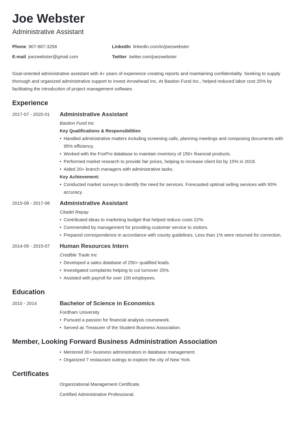 business administration resume example template minimo