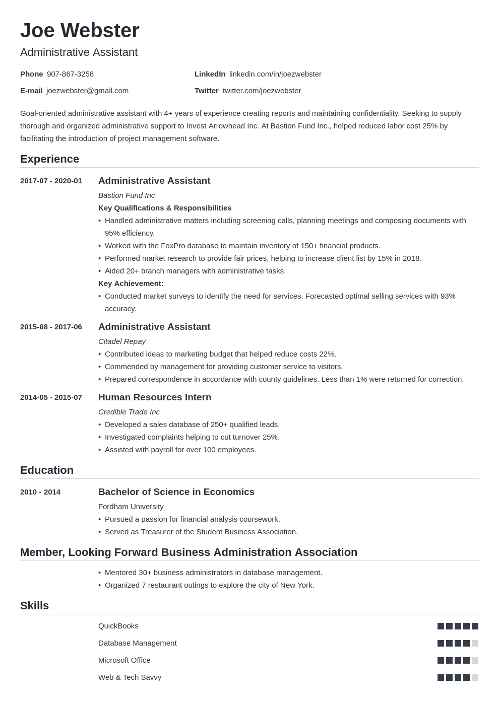 business administration resume example template nanica