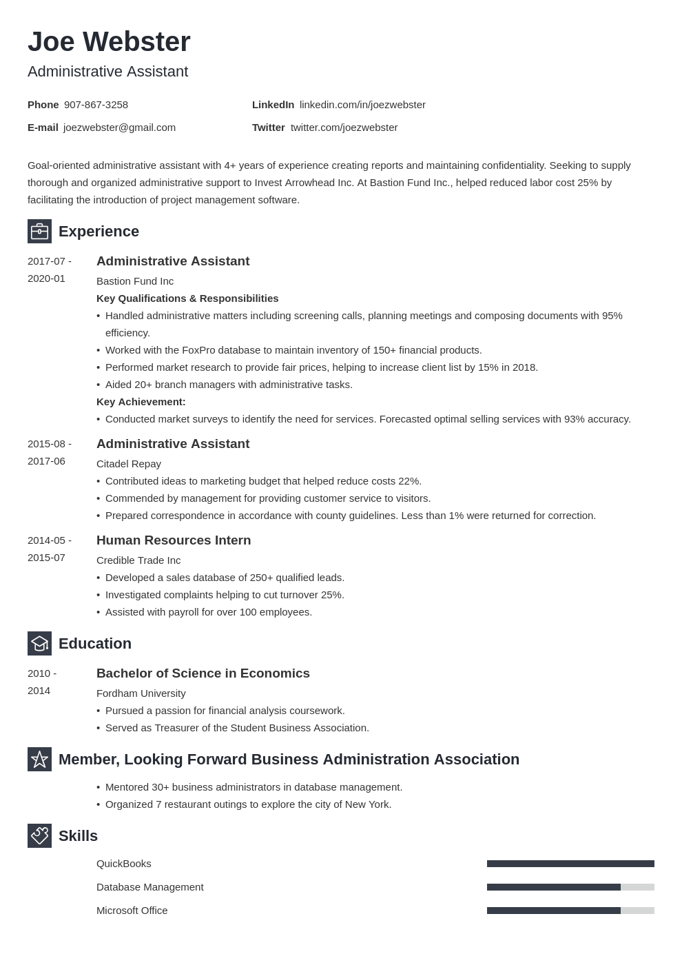 business administration resume example template newcast