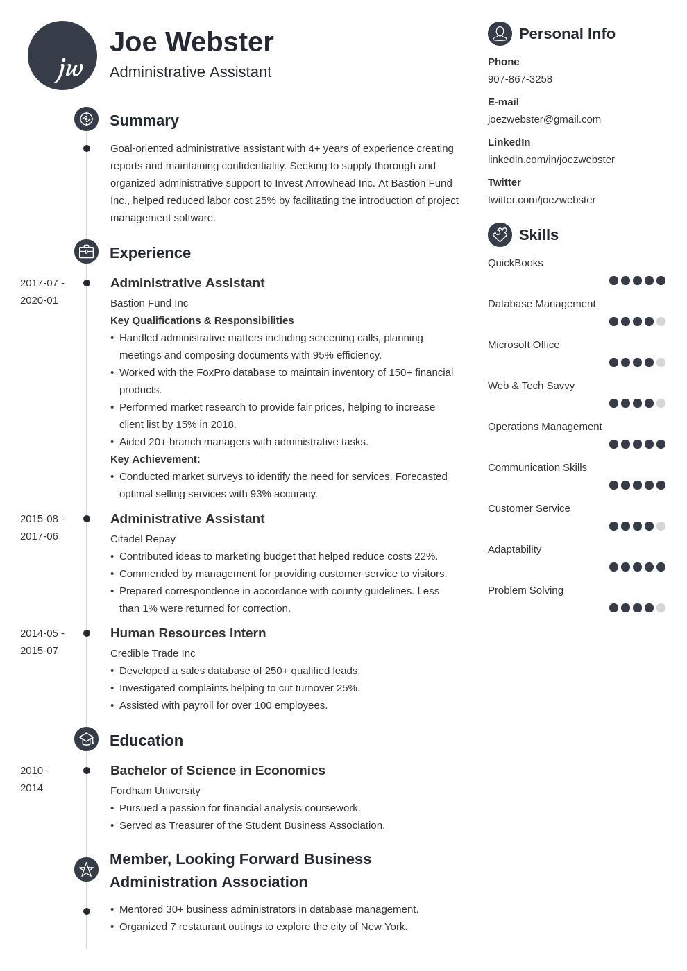 business administration resume example template primo
