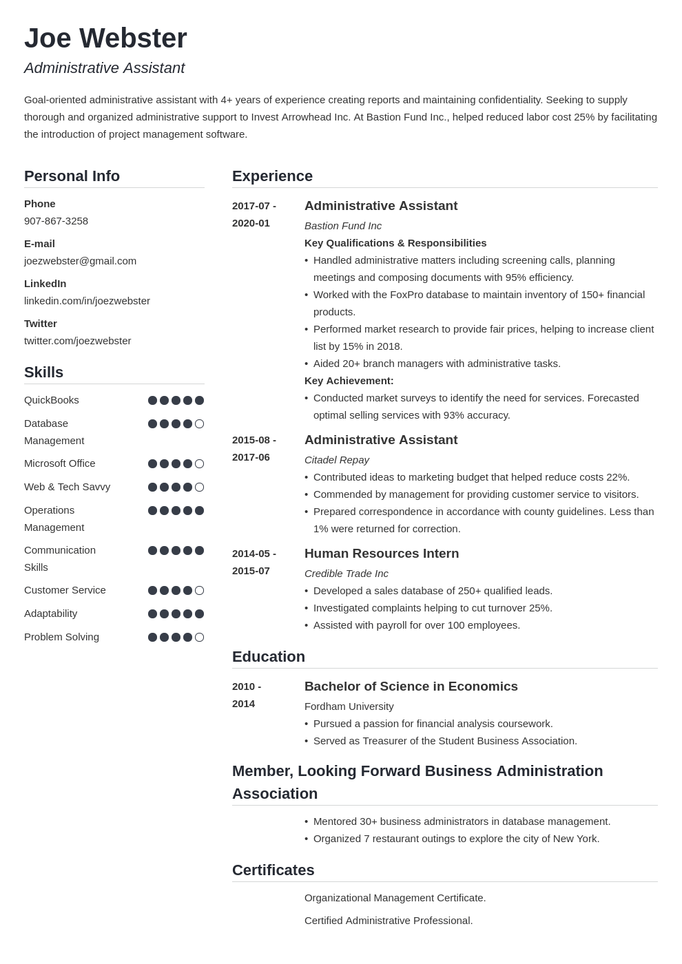 business administration resume example template simple