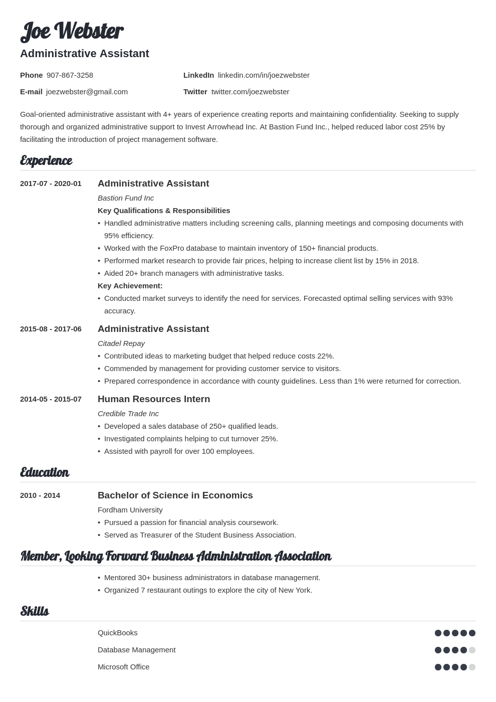 business administration resume example template valera
