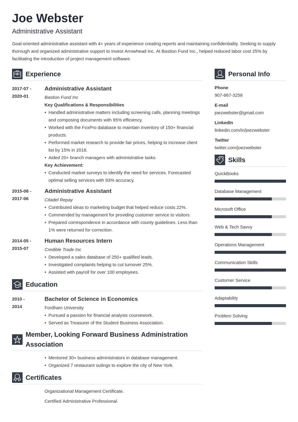 business administration resume example template vibes