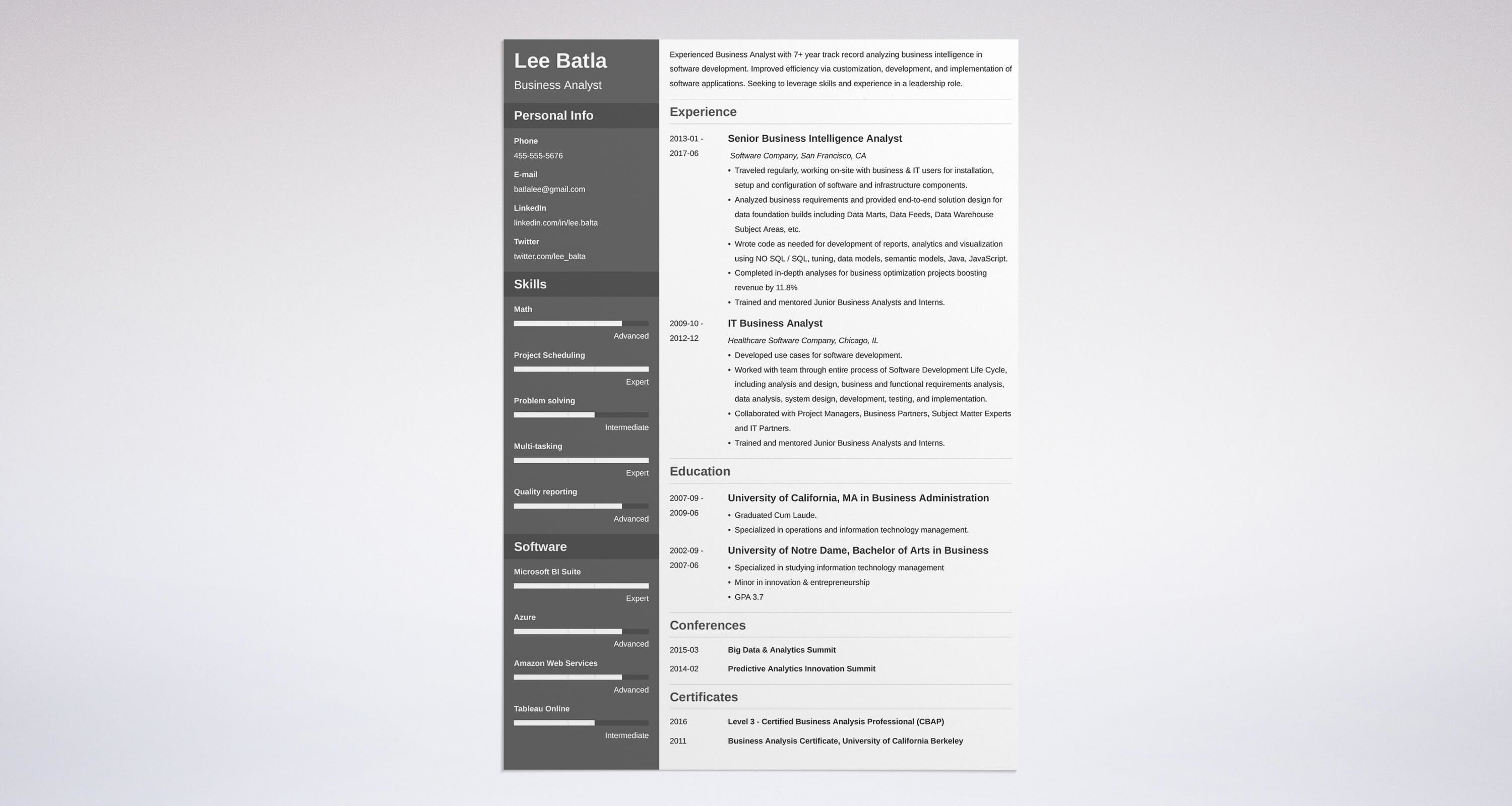 business analyst resume sample complete guide 20 examples - Business Resume Sample