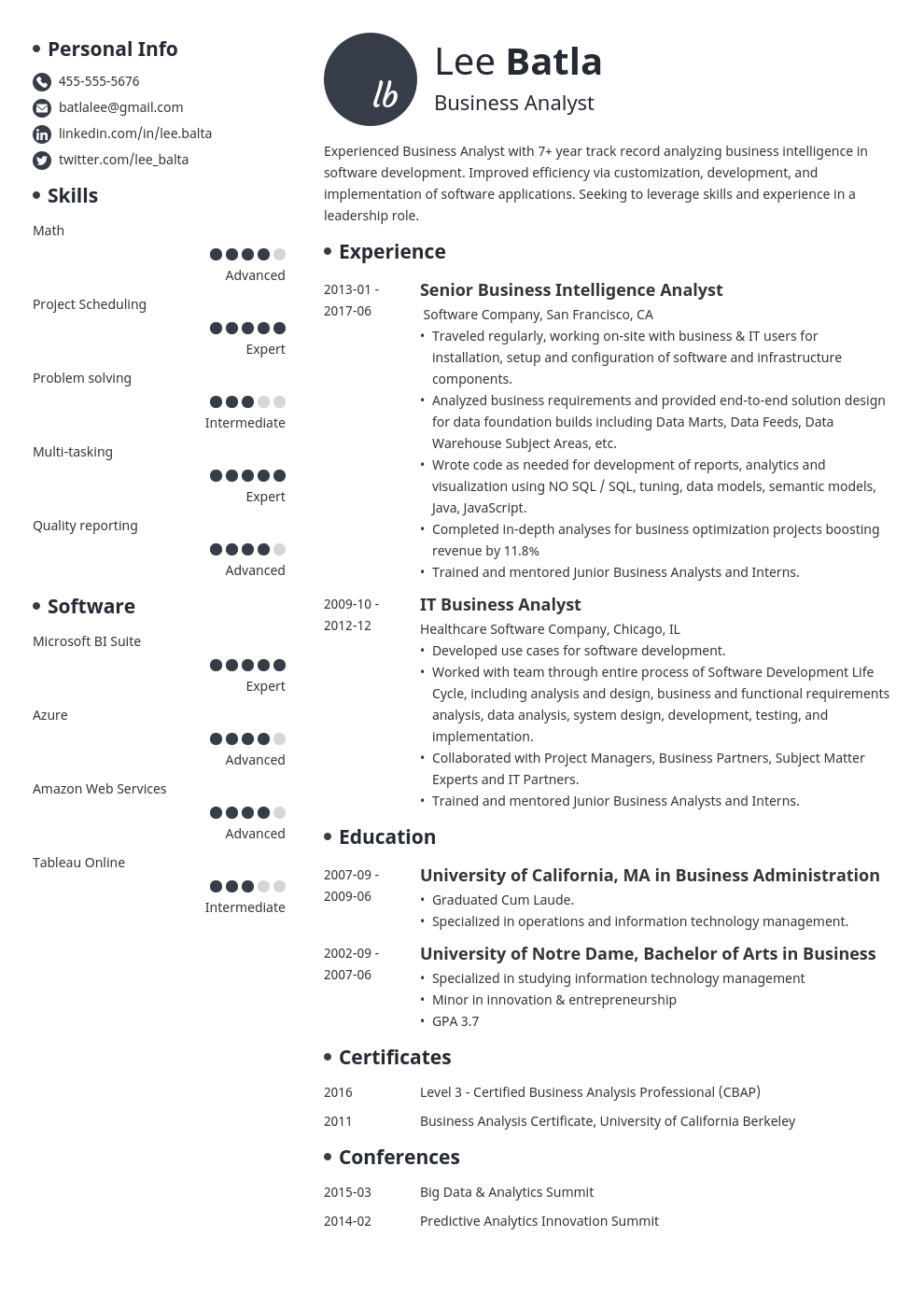 business analyst resume template initials