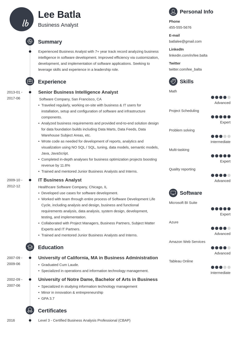 Business Analyst Resume Sample Complete Guide 20 Examples