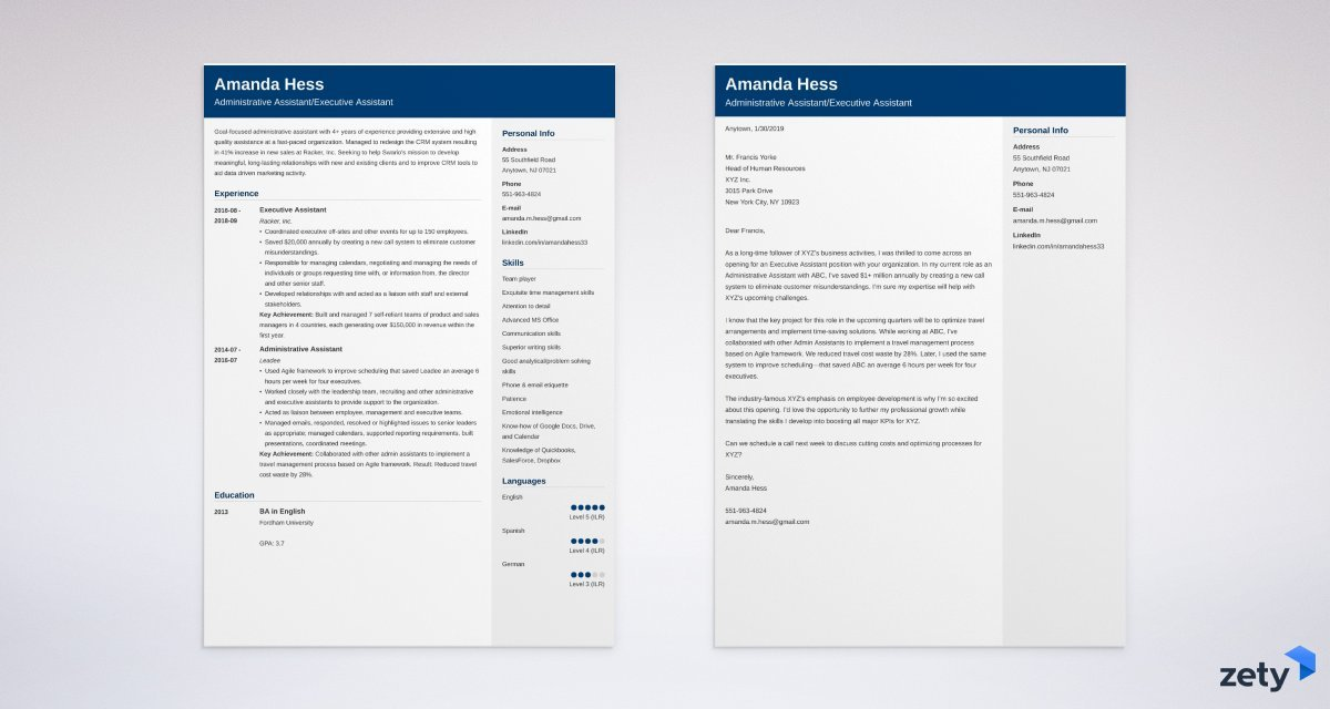 business cover letter and matching resume