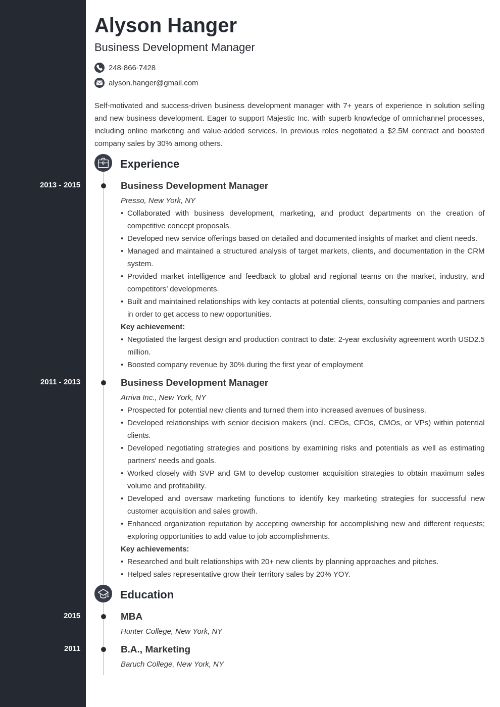 business development resume example template concept