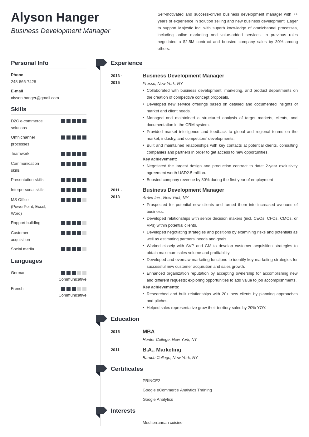 business development resume example template muse