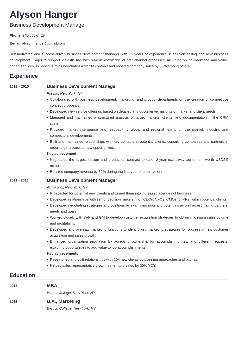 business development resume example template nanica