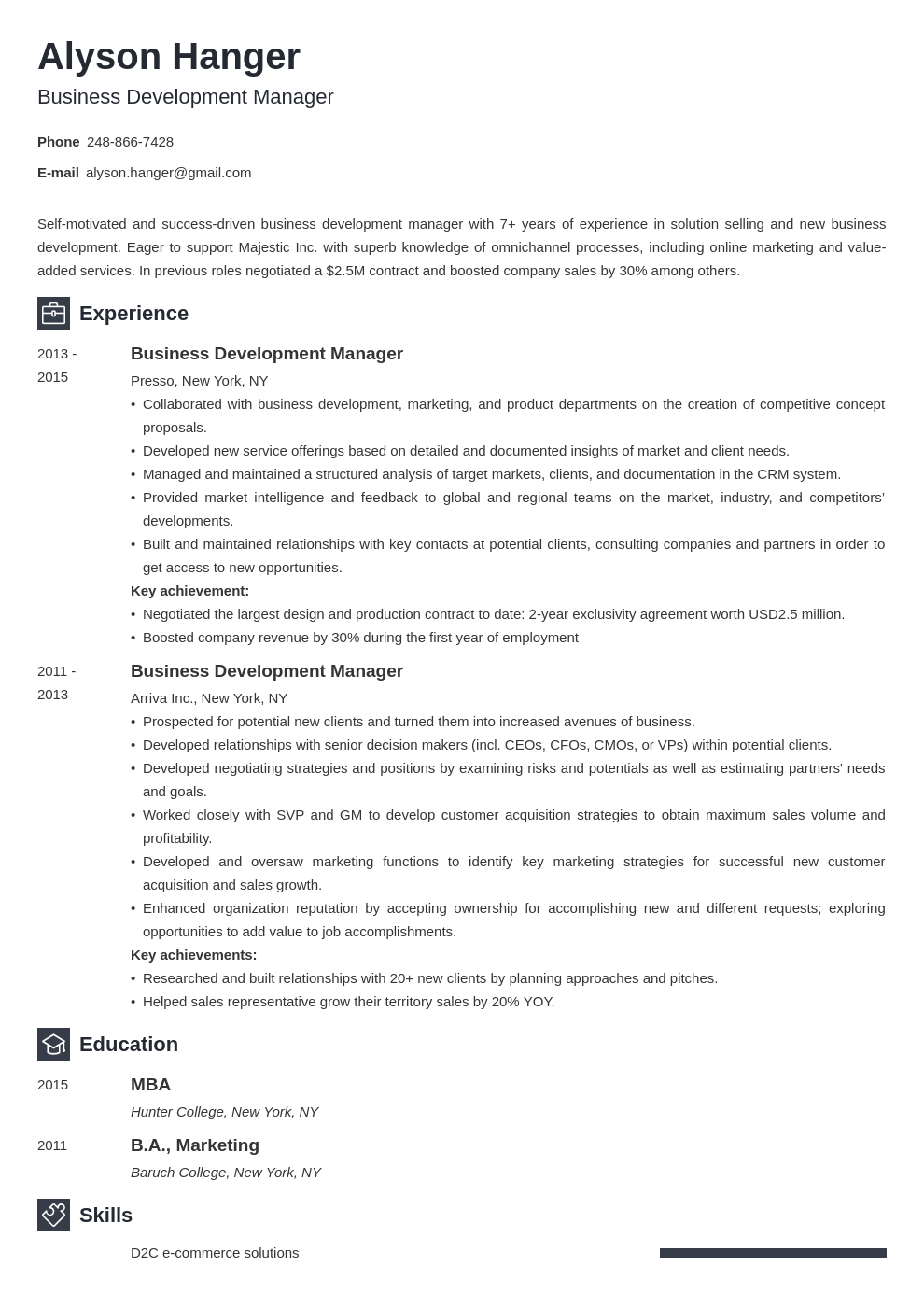 business development resume example template newcast