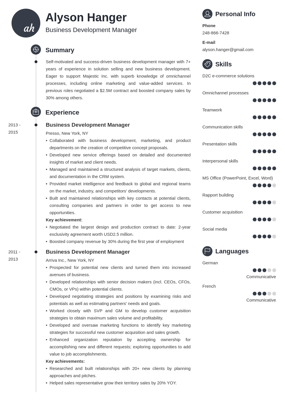 business development resume example template primo