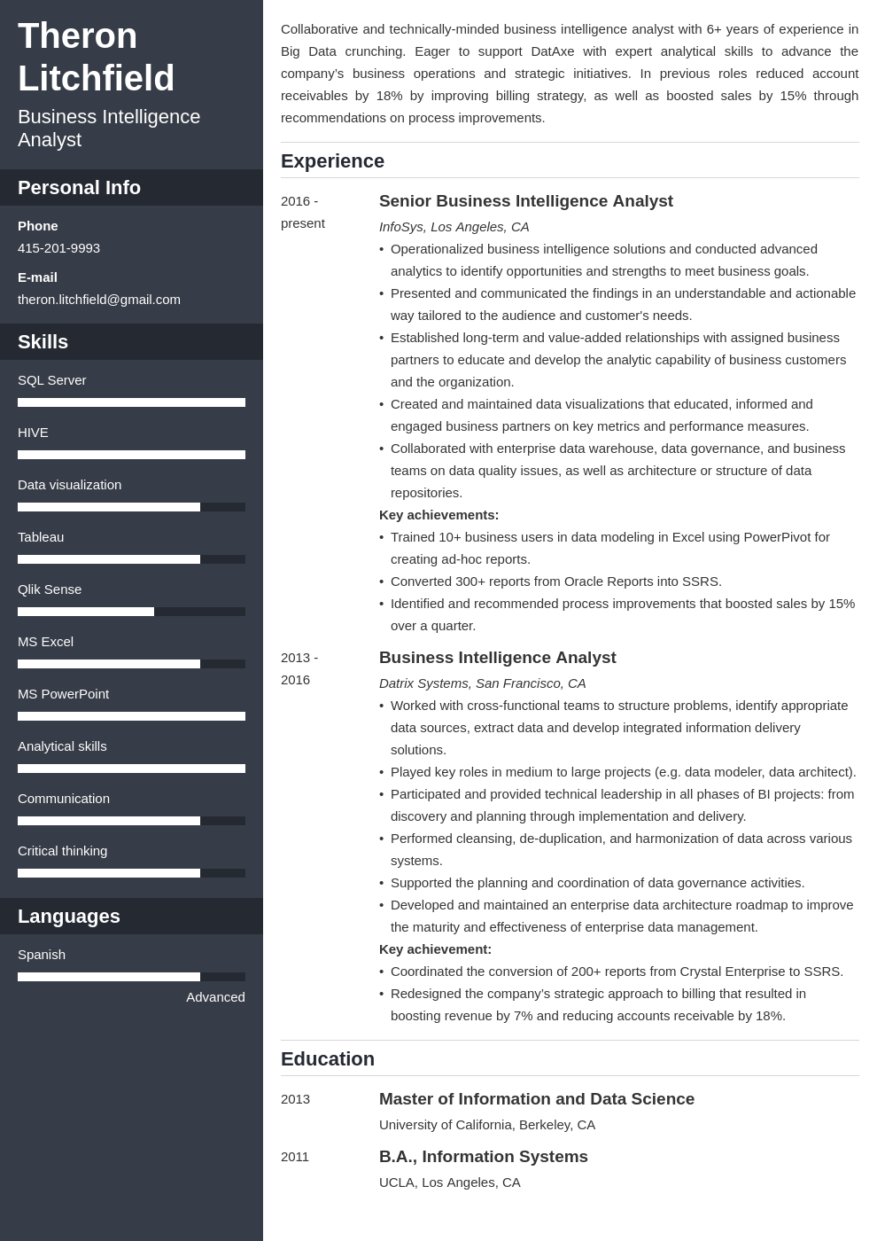 business intelligence resume example template cascade