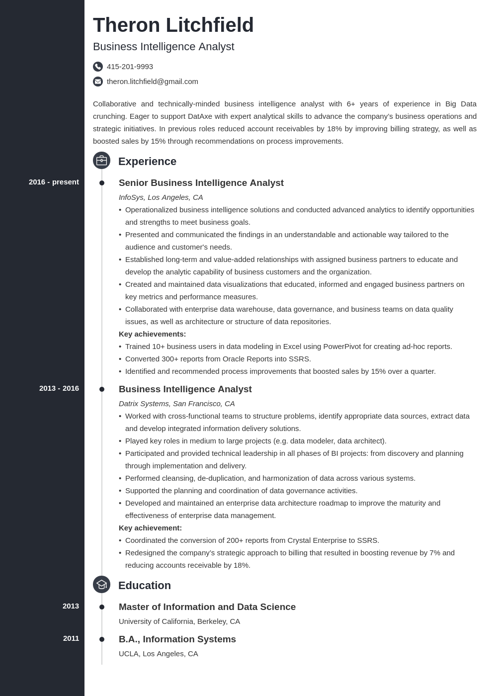 business intelligence resume example template concept
