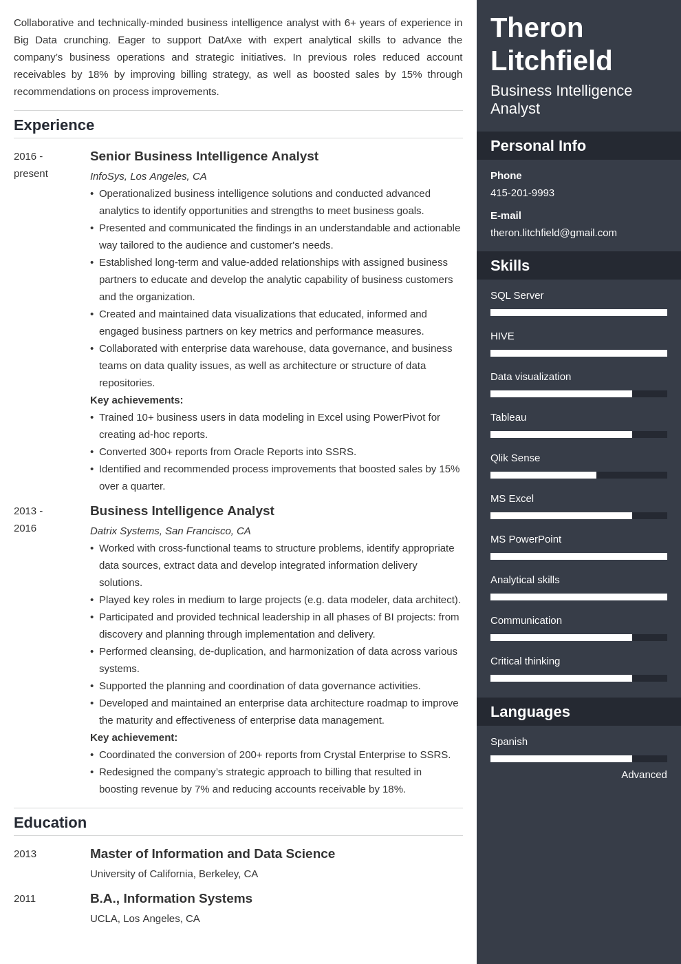 business intelligence resume example template enfold