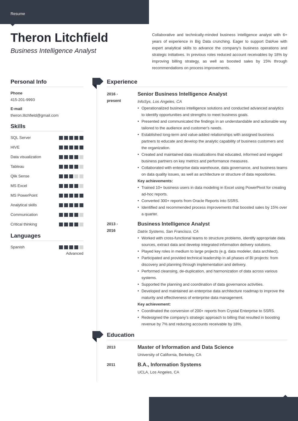 business intelligence resume example template modern