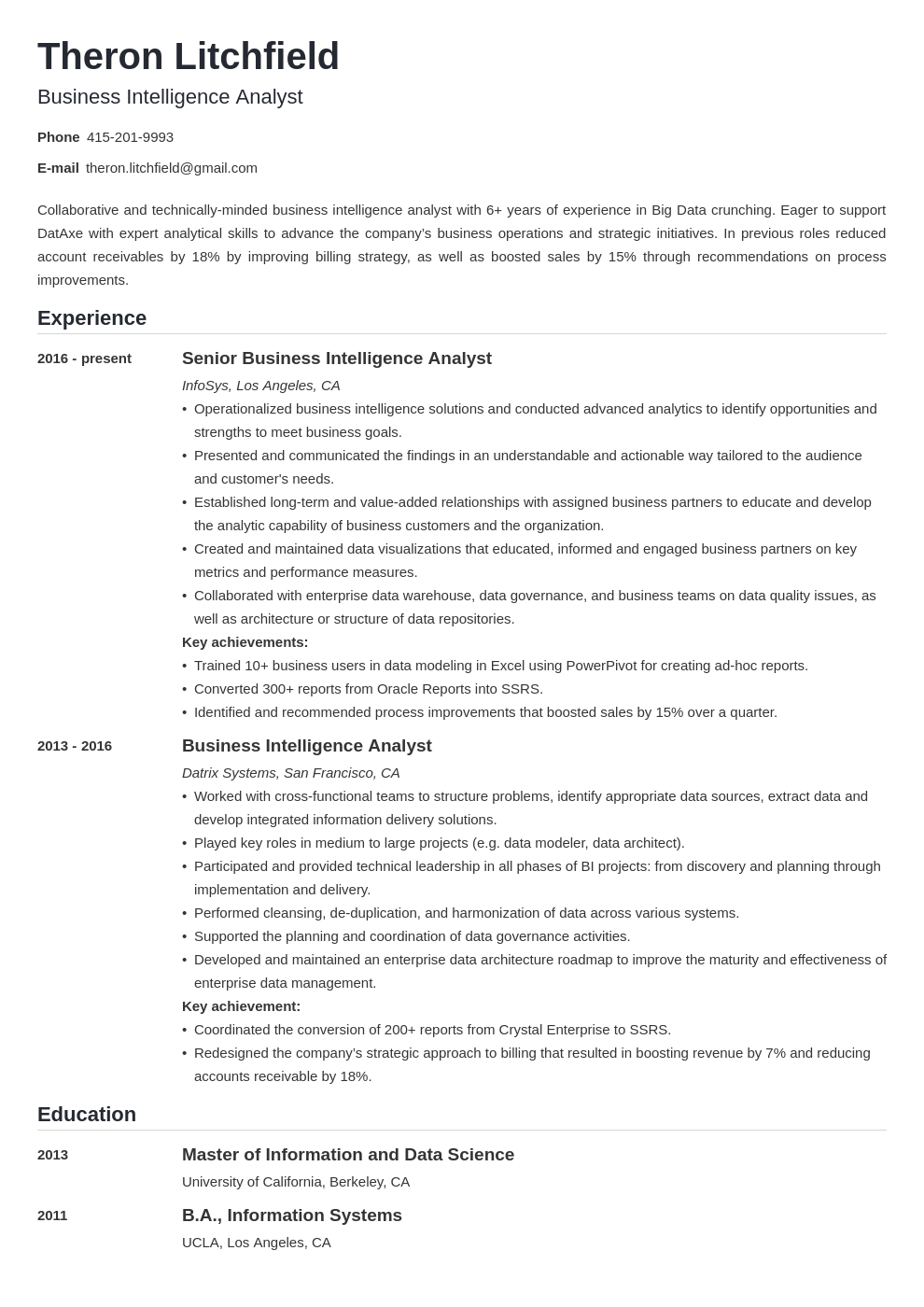 business intelligence resume example template nanica