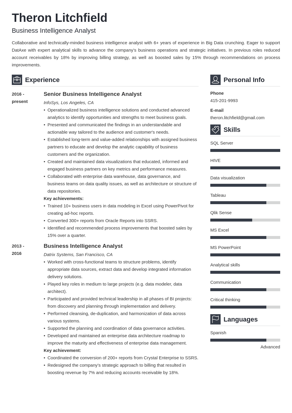 business intelligence resume example template vibes