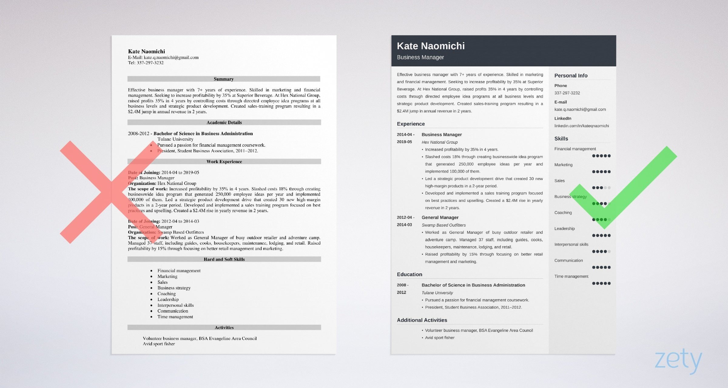 business manager resume templates