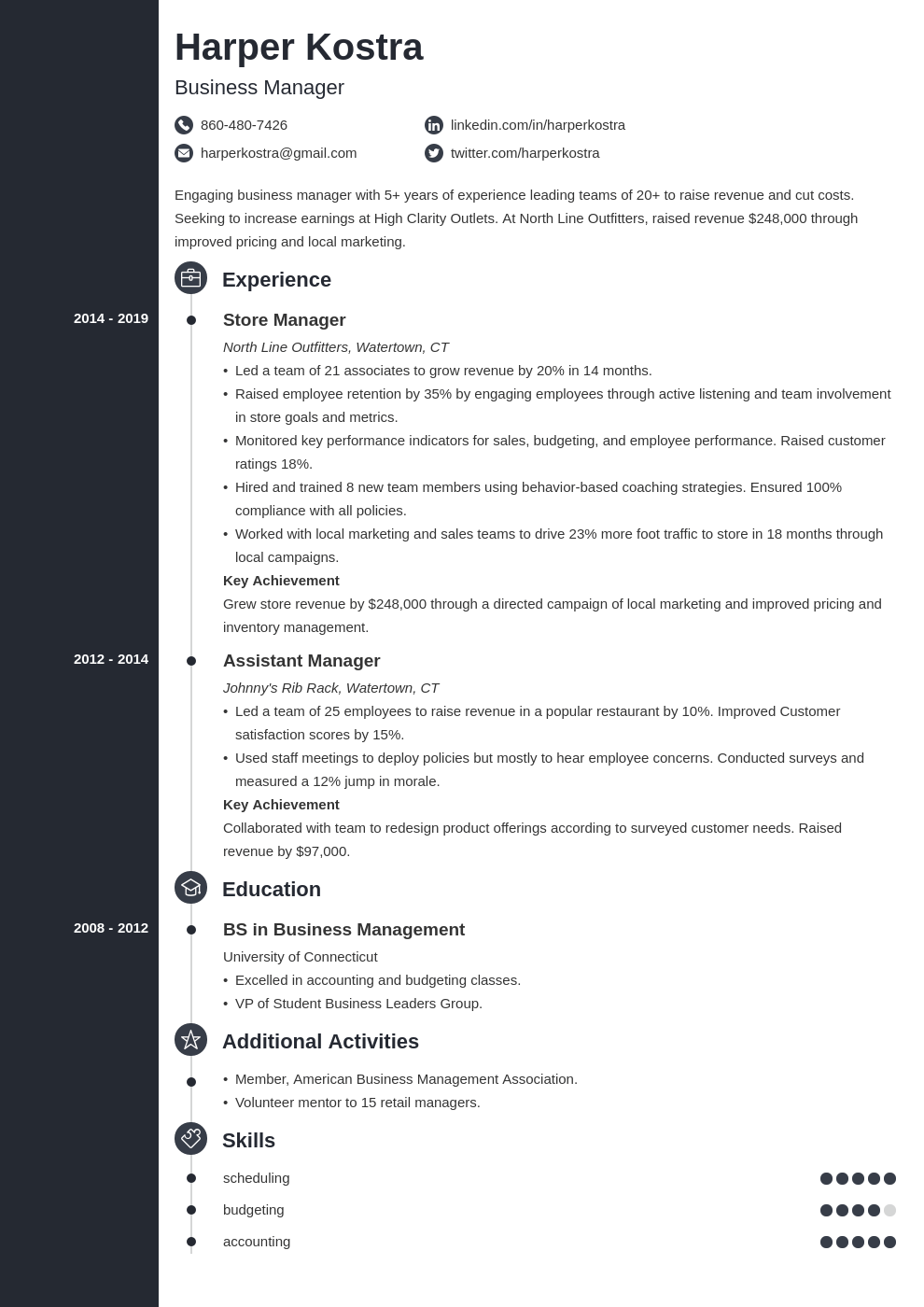 business manager resume example template concept