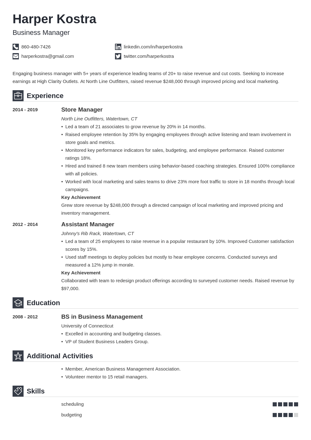 business manager resume example template iconic