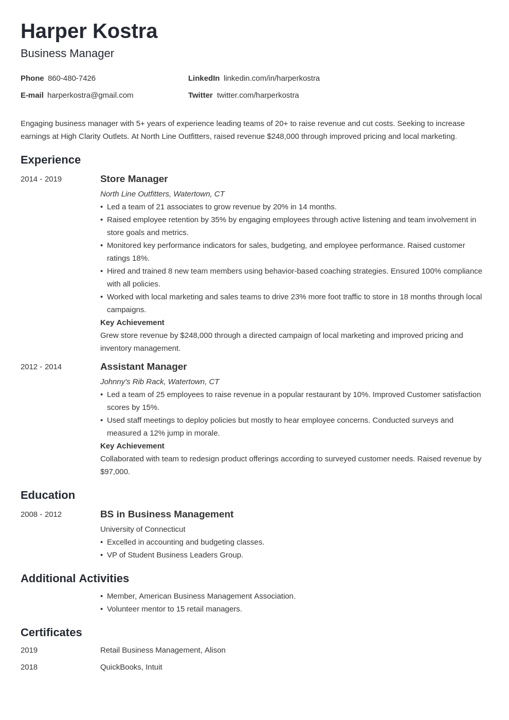 business manager resume example template minimo