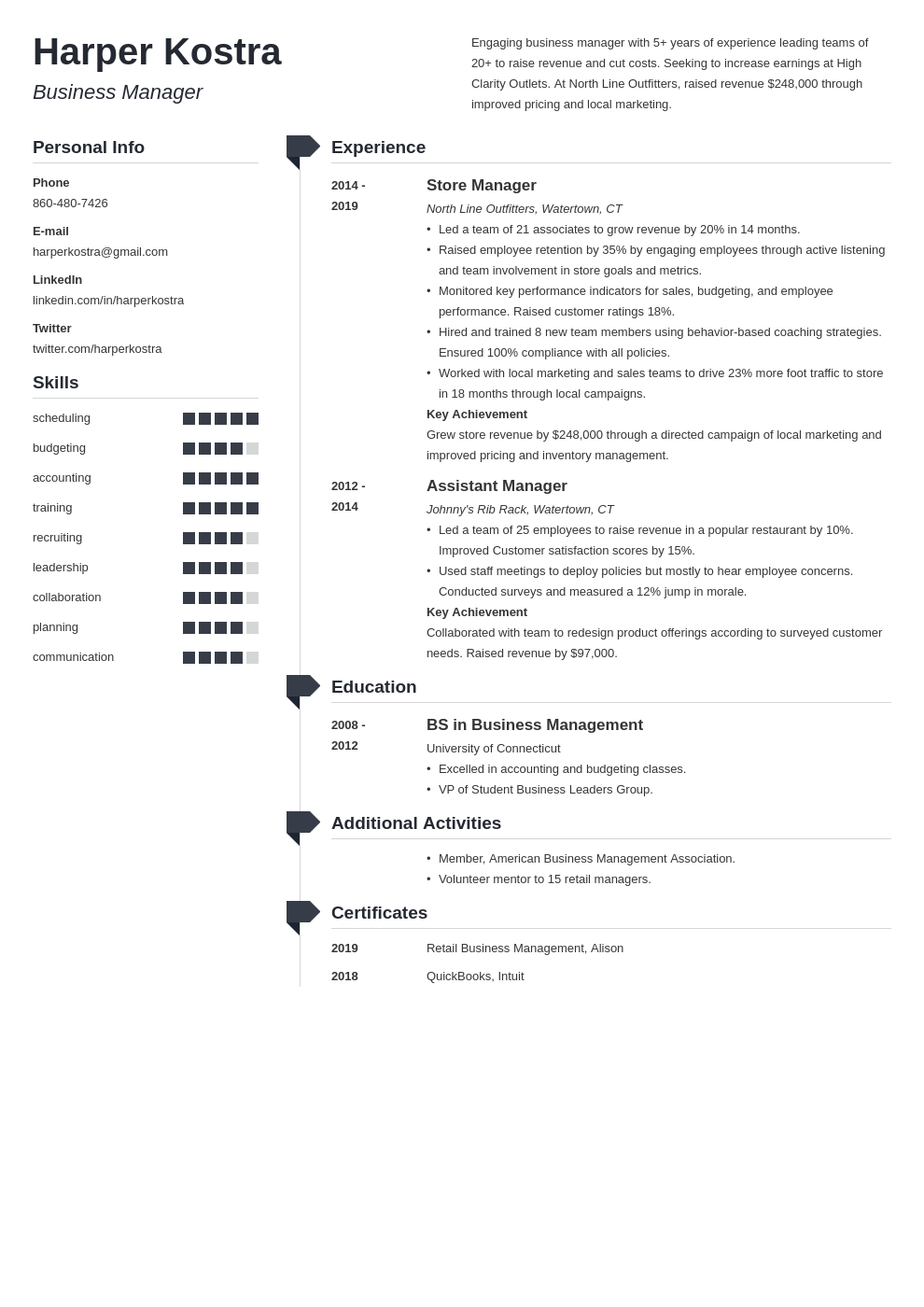 business manager resume example template muse