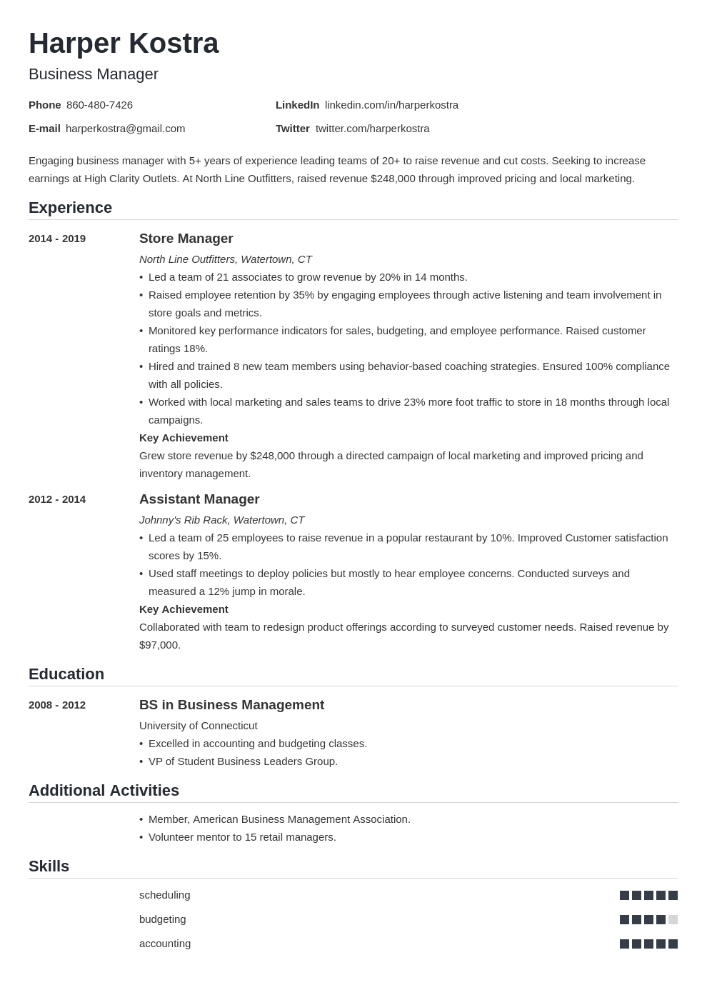 business manager resume example template nanica