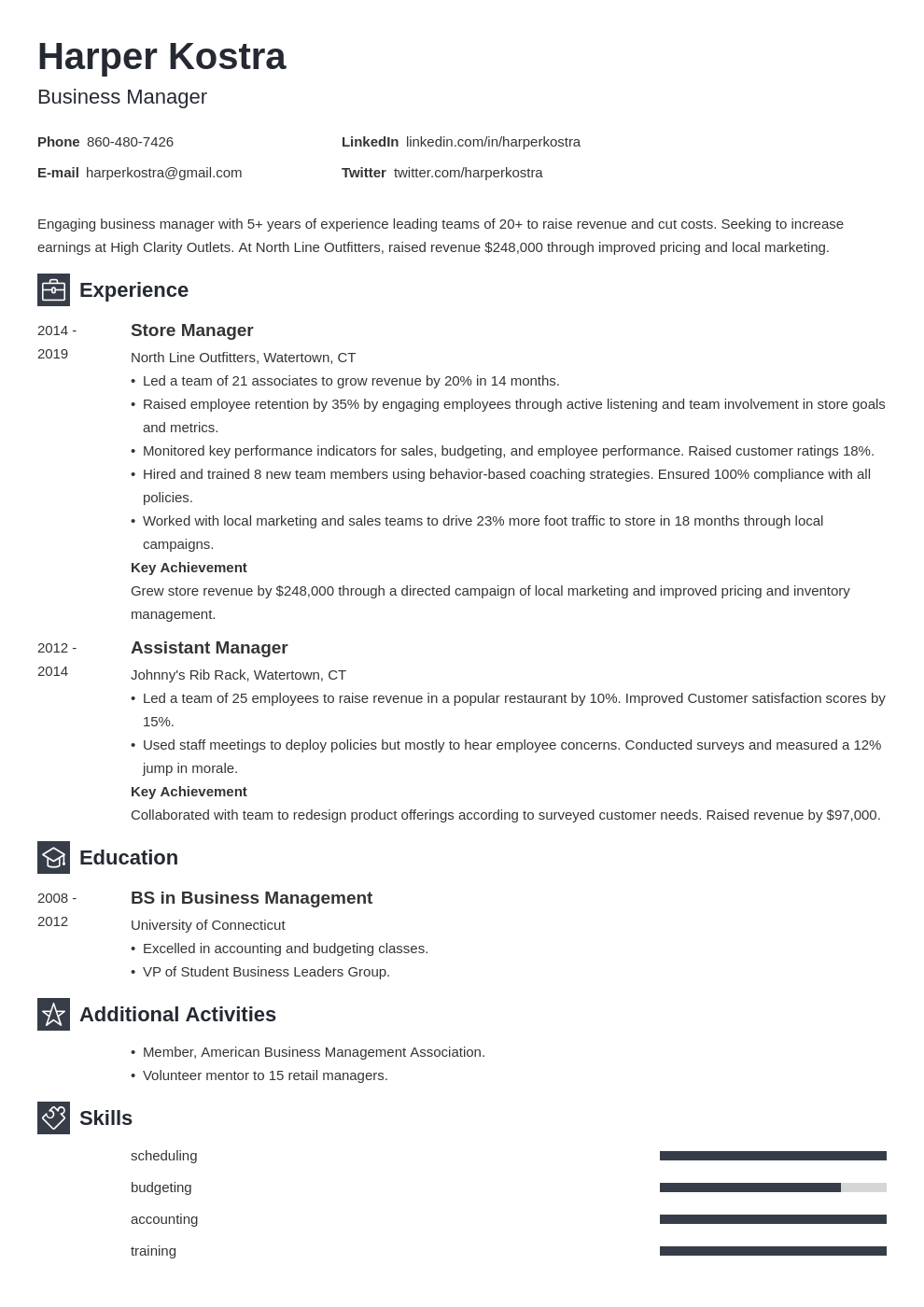 business manager resume example template newcast