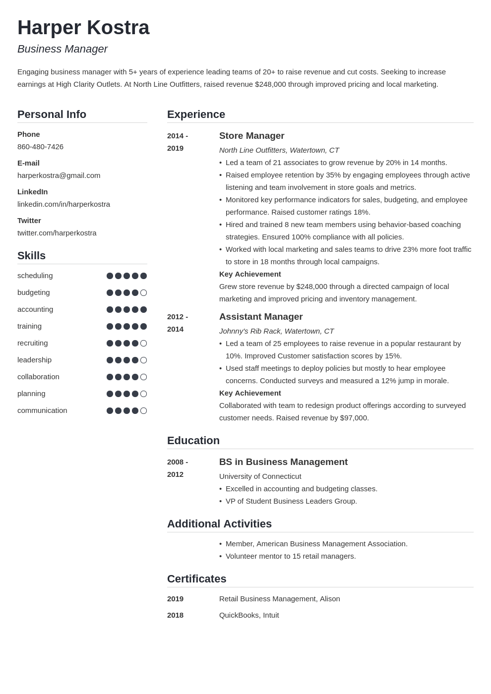 business manager resume example template simple